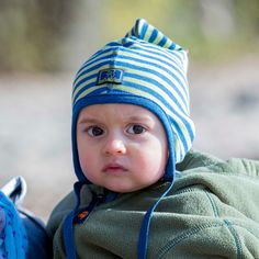 #Cuffietta #neonato a righe blu e verde in #lana e #seta