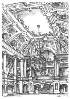 A lavish interior at the Chicago Theater - drawings and paintings by Stephen Wil. A lavish interior at the Chicago Theater - drawings and paintings by Stephen Wil. Drawing S, Art Drawings, Stephen Wiltshire, Autistic Artist, Gothic Pattern, Interior Sketch, Interior Design, Fantasy Castle, A Level Art
