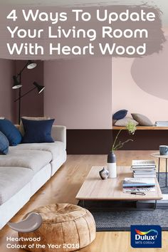 How to make Dulux Colour of the Year 2018 work with your living room. Dulux Bedroom Colours, Dulux Paint Colours, Bedroom Color Schemes, Wall Colors, Living Room Paint, Home Living Room, Dinning Room Colors, Landing Decor, Zen Room
