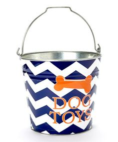 This Blue & Orange Zigzag 'Dog Toys' Bucket by The MacBeth Collection is perfect! #zulilyfinds