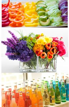 Great floral arrangement ideas (and tips for DIY bouquet food) Rainbow flowers! Rainbow Flowers, Fresh Flowers, Spring Flowers, Beautiful Flowers, Rainbow Bouquet, Colorful Flowers, Cut Flowers, Flowers Bunch, Draw Flowers
