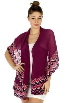 Plum Purple Simple Chevron Border Crochet Knit Vest or Shawl - The Rustic Shop