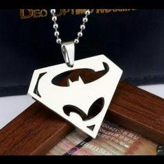 "Superman VS Batman Necklace New. Titanium steel. Silver. Chain length: 19.69"". Pendant size: Approx 1.73"" x 1.30"" x 0.47"". Jewelry Necklaces"