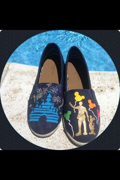 Hand painted disney shoes ft. Walt and mickey by Charitabledesigns, $60.00