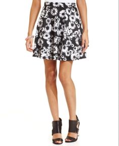 $39, Black and White Floral Skater Skirt: American Rag Daisy Print Skater Skirt. Sold by Macy's. Click for more info: https://lookastic.com/women/shop_items/167565/redirect