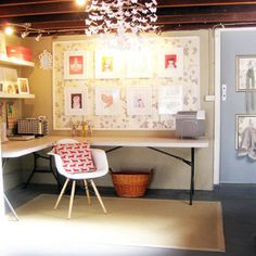 Craft Room Design - i could do this in my unfinished basement space....