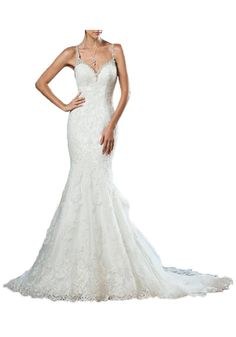 e34883acd8ce5 Now and Forever Mermaid Backless Wedding Dress Lace Mermaid Lace Wedding  Gowns, Sexy Backless, layers long tail. Straps with crystals