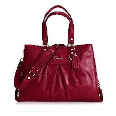 Coach Red Handbag Ashley Patent Carryall