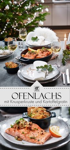 Ovened salmon with crispy crust and potato gratin. Nicht nur zu Weihnachten ein Fe… Ovened salmon with crispy crust and potato gratin. Shellfish Recipes, Seafood Recipes, Vegetarian Recipes, Chicken Recipes, Healthy Recipes, Roast Recipes, Crockpot Recipes, Benefits Of Potatoes, Salmon Recipes