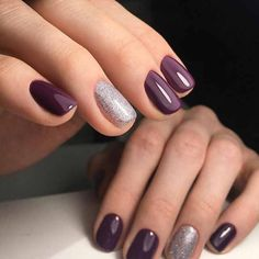 Simple purple nails with a silver glitter accent nail
