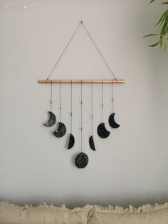 Black Silver and Copper Clay Moon Phases Wall Hanging. Copper Wall decor, Bohemian neutral nursery decor Wall hanging, Modern Black Silver and Copper Clay Moon Phases Wall Hanging. Copper Wall decor, Bohemian neutral nursery d Cute Room Decor, Nursery Decor, Bedroom Decor, Easy Diy Room Decor, Cool Wall Decor, Diy Wall Art, Design Bedroom, Art Decor, Decor Ideas
