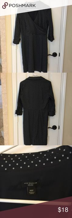 Navy polka dot dress. Navy polka dot dress. Dress looks better on, pictures does not do it justice. Looks very professional. Ann Taylor Dresses Midi
