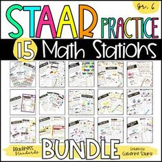 Looking for a FUN and ENGAGING TEKS and STAAR aligned test-prep or practice resource? This resource works great as a Review of the 6th grade math Big Ideas, as a Test-Prep resource, for RTI and Small Group, for Summer School, or as an End of Year culmination activity!This Bundle includes 15 STAAR Practice Math Stations and 15 STAAR Practice Mini-Booklets. Each of the STAAR Practice Stations includes a math center activity designed to practice one to two of the Readiness Standards. Math Stations, Math Centers, Equivalent Expressions, One Step Equations, I Can Statements, Secondary Math, Bar Graphs, Guided Math, Test Prep