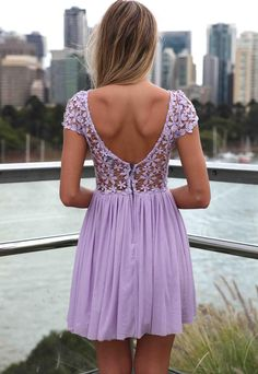 Such a pretty lilac lace dress.