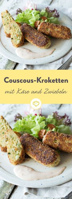 Diese Kroketten sind schnell in der Pfanne knusprig gebraten und überzeugen mit… These croquettes are quickly fried in the pan and convince with finely seasoned couscous as a base. Veggie Recipes, Vegetarian Recipes, Snack Recipes, Healthy Recipes, Snacks, Cooking Recipes, Clean Eating Recipes, Soul Food, Food Inspiration