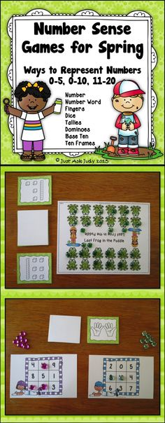 These appealing partner or small group number sense games with spring themes are played using cards showing 8 different ways to represent a number. PreK-K $