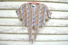 90s Vintage Tribal Crop Top African Tee Boho Hippie Shirt Grunge Blouse Vtg 1990s Size XXS-XS