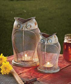 Owl Candle Lanterns Pinned by www.myowlbarn.com