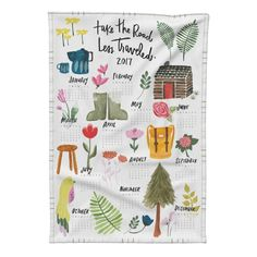 """Special Edition Spoonflower Tea Towel featuring """"Take the road less traveled"""" 2017 tea towel calendar - with Jessica Keala by thislittlestreet 