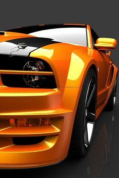 ♂ Masculine & elegance car details orange mustang