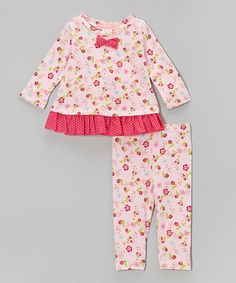 Take a look at this Pink Daisy Bow Ruffle Tunic & Leggings - Infant by Everyday Nay on #zulily today!