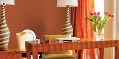 Vivid orange paints stand out and can dominate a room, so use them thoughtfully and complement them Burnt Orange Living Room, Olympic Paint, Orange Paint Colors, Wood Stain Colors, Popular Colors, Art Decor, Home Decor, Decor Ideas, Living Room Bedroom