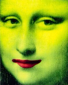 Lime-green Mona with red lips
