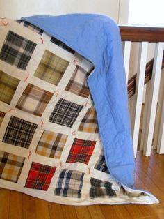 Flannel Shirt Quilt...I want my mom to make a quilt like this out of my brother's shirts.