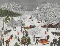 """Grandma Moses (1860-1961) - """"Sugaring Off"""" - Commercial color process -  http://www.metmuseum.org/collection/the-collection-online/search/366464"""
