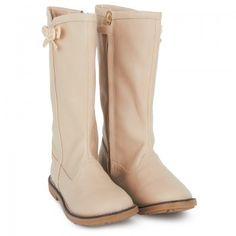 Mayoral Girls Beige Bow Leather Boots | AlexandAlexa