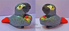 #12 African grey ornament with present (sold)
