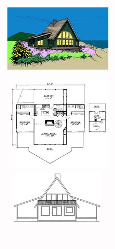 A-Frame House Plan 91704 | Total Living Area: 1837 sq. ft., 2 bedrooms, 1 full bathroom and one 3/4 bath. #aframehome