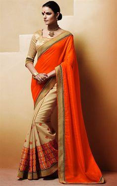 Picture of Splendid Orange and Beige Color Art Silk Saree