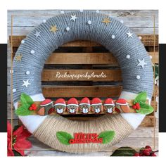 Santa Robins Caroling At Your Door - Pebble Art Wreath - RocksnpaperbyAmelia - Shop in Ireland | Gifts for all occasions | Irish Gifts | Pebble Art, Robin, Santa, Wreaths, Door Wreaths, Deco Mesh Wreaths, European Robin, Robins, Floral Arrangements