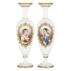 Pair of French opaline glass vases | French | Late 19th Century. More details online at mayfairgallery.com