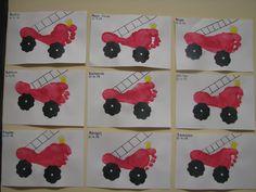 Firetruck Footprints by Fireman Crafts, Firefighter Crafts, Toddler Art, Toddler Crafts, Preschool Crafts, Fire Safety Crafts, Fire Truck Craft, Hand Print Tree, October Crafts