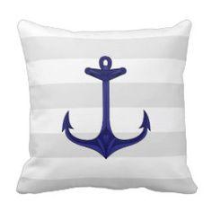 Nautical Navy Blue Anchor Gray White Stripes Pillow