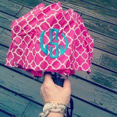 a rainy day calls for a bright monogram umbrella!