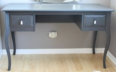 """SOLD - BEAUTIFUL GREY VANITY TABLE IN EXCELLENT CONDITION! This vanity table was lovingly cared for in a smoke free home. Dimensions: 29"""" high - 22"""" deep - 49"""" wide www.relovedinteriors.com"""