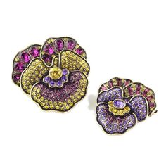 "Heidi Daus ""A Pleasing Pansy"" 2 Piece Pin Brooch Set #HeidiDaus"