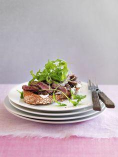 Open steak sandwich with balsamic shallots