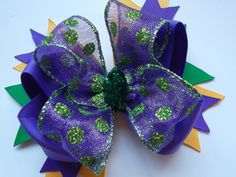 Girls over the top Mardi Gras Bow Purple and Green by ransomletterhandmade, $10.00