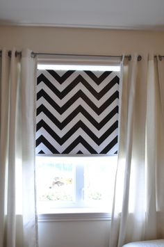 Roller shade painted with chevron stripes. I totally want to do this. Lowes has a chevron stencil, but I could use my #Silhouette to make my own.