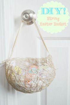 DIY: String Easter Basket via Fawn Over Baby  #DIY #DIYEASTER #DIYEASTERBASKET