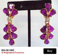 Rhinestone Dangle Earrings Fuschia Pink Color Hollywood Glamour Gold Metal Long 2.5 in Vintage