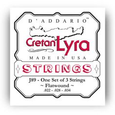 D'Addario Strings : Other Instruments : J89 Cretan Lyra, Flat Wound : Designed specifically for the Cretan Lyra Flat wound for warm, mellow tone : Environmentally friendly, corrosion resistant packaging for strings that are always fresh : Made in the U.S.A. for the highest quality and performance : String Gauges: Wound .022, .028, .034