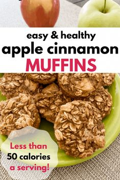 These apple cinnamon oatmeal muffins are the perfect breakfast or snack! They're really easy to make and under 50 calories a serving. Healthy Apple Cinnamon Muffins, Apple Oatmeal Muffins, Apple Cinnamon Oatmeal, Healthy Muffins, Baked Oatmeal, Fun Baking Recipes, Vegan Recipes, Skinny Recipes, Muffin Recipes