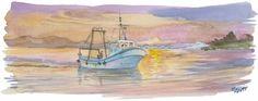 Pesquero al atardecer (Torredembarra, Tarragona)  obra original pintada a la acuarela.  Realizada por Manuele Pizzuti.  Mi sitio web:  Manuelepizzutiarte.blogspot.com