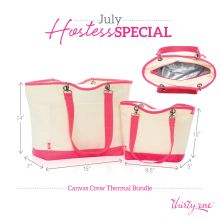 July Hostess Special: Canvas Crew Thermal Collection. Comes with a Canvas Crew thermal tote and a canvas crew lunch thermal. A $115 value for just $31 with a $200+ party or free with a $600+ party. Book your party today by visiting my website:www.mythirtyone.com/meganfulsom