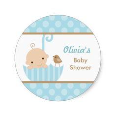 Umbrella Baby Shower Stickers in Blue
